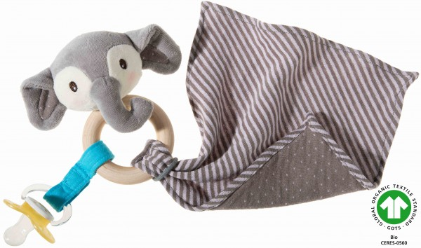 Heunec Frohnaturen Greifling Elefant riverblue mit Tuch in 35cm